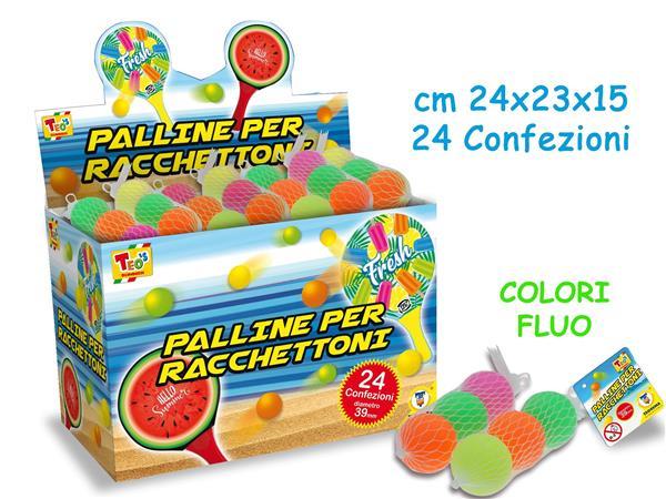 PALLINE PER RACCHETTONI 3 PZ. IN RETE 24X23X15 FLUO 24 PEZZI