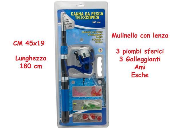 CANNA DA PESCA TELESCOPICA CM.1.80 CON MULINELLO