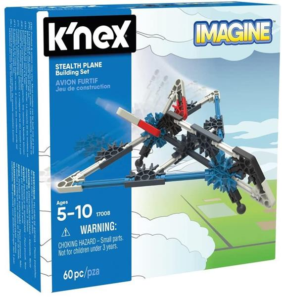 K'NEX IMAGINE STEALTH PLANE 60 PZ.5/10 ANNI